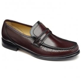 Mens Rome Moccasin Burgundy Leather Shoes