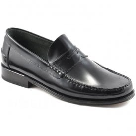 Mens Princeton Moccasin Black Leather Loafers
