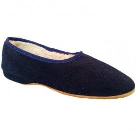 Womens Ellen Navy Slip On Suede Slippers