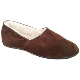 Mens Trevor Dark Brown Slip On Sheep Skin Slippers