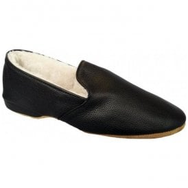 Mens Albert Black Slip On Sheep Skin Slippers