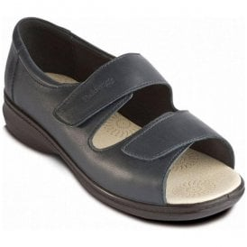 Womens Shell Navy Back In Velcro Sandals