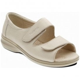 Womens Shell Beige Back In Velcro Sandals