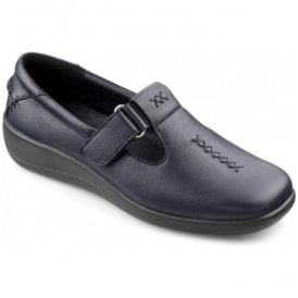 Womens Sunset Extra Wide Navy Leather Velcro Shoes