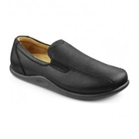 Mens Relax Black Grain Leather Slippers
