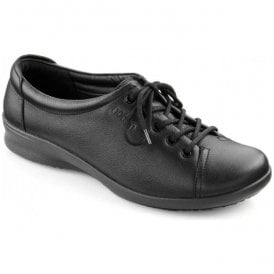 Womens Dew Extra Wide Jet Black Leather Lace Shoes