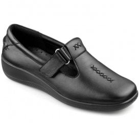Womens Sunset Extra Wide Black Leather Velcro Shoes