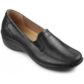 Womens Envy Black Leather Slip On Shoes