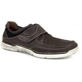 Mens Edric 08 Brown Leather Velcro Shoes