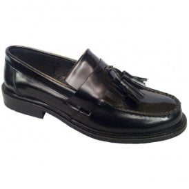 Mens Selecta Black Slip On Tasseled Loafers