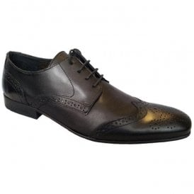 Mens Auckland Black Lace Up Semi-Brogue Shoes