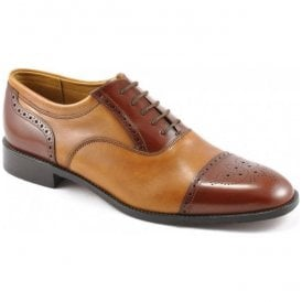Mens Woodstock Tan Two-Tone Lace-Up Shoes