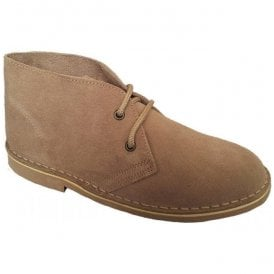 Womens Light Taupe 2 Eyelet Suede Desert Boots L777TS