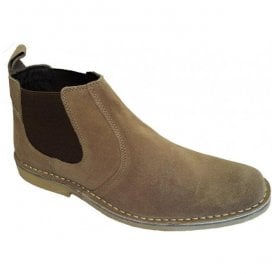 Mens Taupe Suede Elastic-Sided Desert Boots M765BS