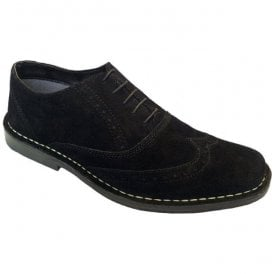 Mens Black Suede 5 Eyelet Brogue Desert Shoes M55AS