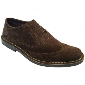 Mens Dark Brown Suede 5 Eyelet Brogue Desert Shoes M55DBS