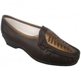 Womens Anna Brown/Copper Slip On Shoes