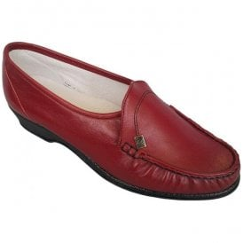 Womens Ida Red Leather Slip-On Shoes