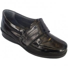 Womens Wardale Black Patent Velcro Shoes