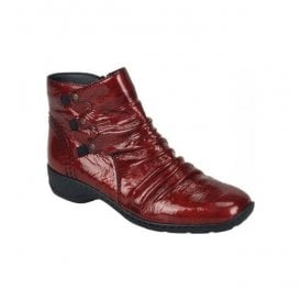 Single Zipped Ankle Boots In Red Patent 78383-35