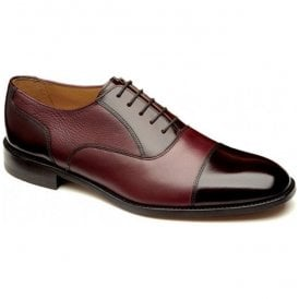 Mens Woodstock Burgundy Two-Tone Tie Shoes