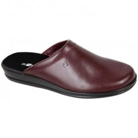 Mens Wine Leather Mule Slippers 1550 48