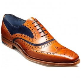 Mens McClean Cedar Calf Brogue Tie Shoes With Navy Suede
