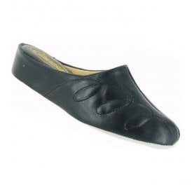 Womens Mahon Navy Leather Slippers