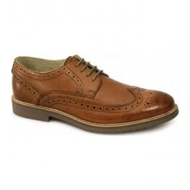 Mens Almond Mid Tan Lace Up Derby Brogue Shoes