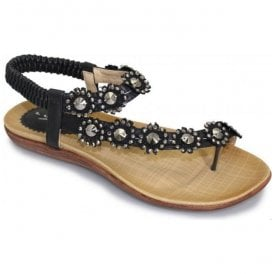 Womens Charlotte Black Toe-loop Sandals JLH601 BK