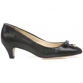 Womens Ivy Black Lizard Court Shoes