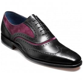 Mens McClean Black Calf and Plum Suede Brogue Tie Shoes