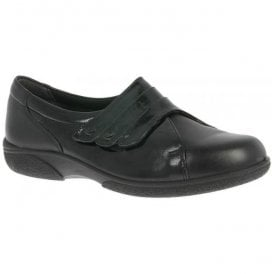 Womens Bakewell Black/Black Patent Wide Fitting Shoes 78312Q EE