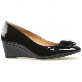 Womens Camden Black Patent Wedge Court Shoes