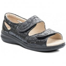 Womens Wave Black Croc Patent Back In Velcro Sandals