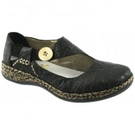 Black Leather Slip-On Shoes 46364-00