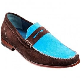 Mens William Bitter Choc/Sky Blue Suede Moccasin Shoes