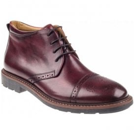 Mens Lyon Burgundy Lace Up Ankle Boots