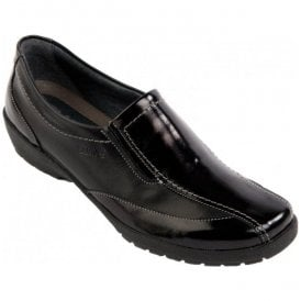 Womens Jessie Black/Patent E-EE Slip On Shoes