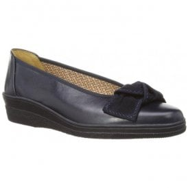 Womens Lesley Navy Pump Shoes With Bow Detail 86.403.50