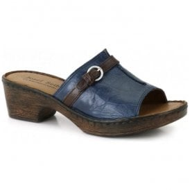Womens Rebecca 21 Blue/Brown Slip On Mules