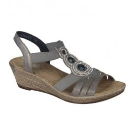 Space Grey Elastic Sandals 62459-40