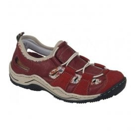 Womens Vendee Red Lace Up Trainers L0561-33