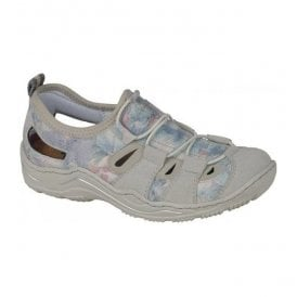 Womens Vendee White/Blue Lace Up Trainers L0561-80