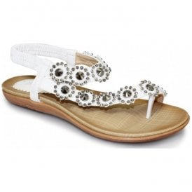 Womens Charlotte White Toe-loop Sandals JLH601 WT