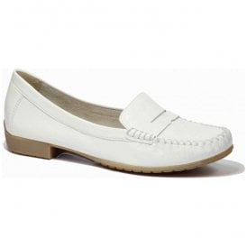 Womens White Patent Leather Moccasins 9-9-24256-26 123