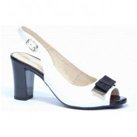 Womens White Patent Sling Back Sandals 9-9-28314-26 103