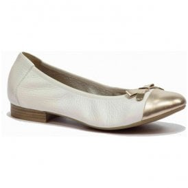 Womens White/Gold Leather Shoes 9-9-22152-26 190