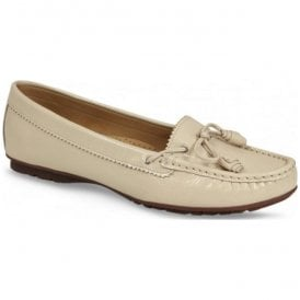Womens Essie Cream Patent Slip On Moccasins