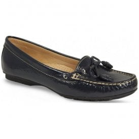 Womens Essie Navy Patent Slip On Moccasins